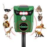 KNMY Repelente Gatos, Solar Repelente de Animales Ultrasónico, IP65 Impermeable Recargable Ahuyentador de Gatos Jardin con Modos Auto Ajustables para Zorro Conejo Rata Aves Ardillas Paloma Scare