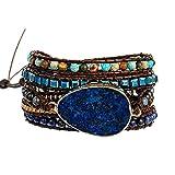 Plumiss Boho Handmade Lapis Lazuli Stone Bead Leather 5 Wrap Bracelet for Women Men Gift