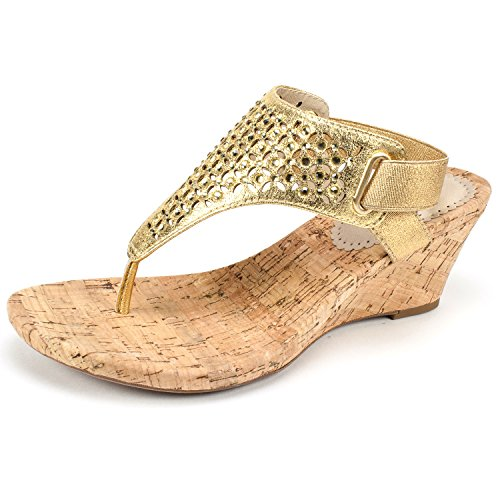 WHITE MOUNTAIN Shoes Arnette Women's Sandal, Gold/Metallic Fabric, 8H M