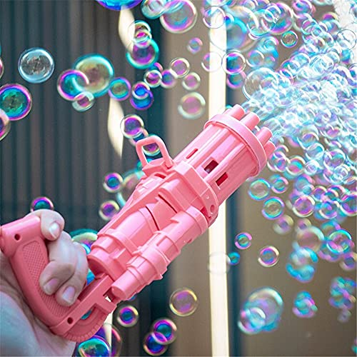 WORLDFYF Automatic Bubble Gun,2021 Gatling Bubble Machine 8/16-Hole Bubble Blower Automatic Bubble Maker Machine Electric Bubble Gun Bubble Machine Toy for Toddler (Large(15 Holes),Pink)