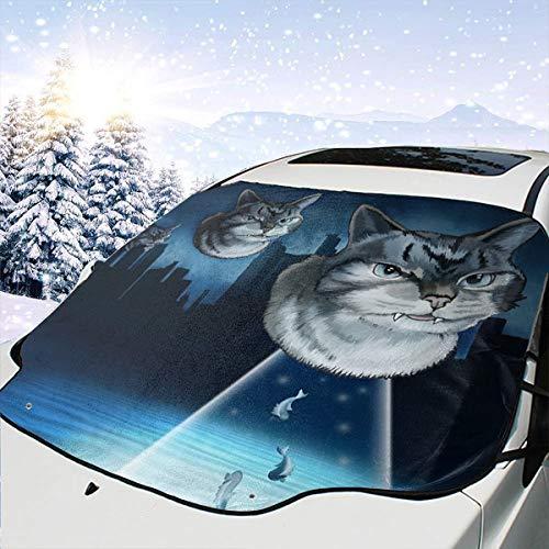 Lilyo-ltd Alien Kitten Auto Windschutzscheibe Sonnenschutz Schnee Abdeckung für die meisten Autos, SUV, LKW, Schutz blockiert Hitze und Sonne, hält Ihr Fahrzeug kühl