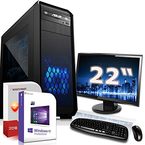 Gaming PC Komplett Set/Multimedia Computer inkl. Windows 10 Pro 64-Bit! - AMD Quad-Core A10-8770 Pro 4X 3.8 GHz - AMD Radeon R7-16GB DDR4 RAM - 120GB SSD 1000GB HDD - 22-Zoll TFT Monitor - 24-FA