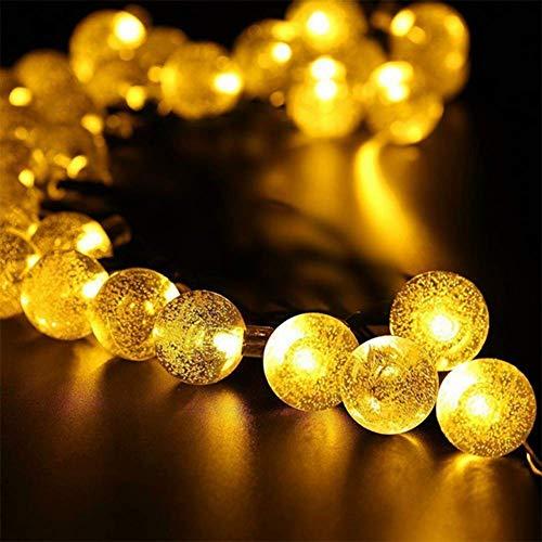 WH Decorativo Catena Luminosa Solare Strisce LED da Esterno - Luminarie Colorate A Globo Impermeabili Fino, 30 LED,Yellow