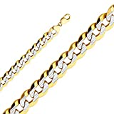 Jewels By Lux 14K Yellow Gold 14MM Cuban White Pave Chain Necklace With Lobster Claw Clasp - 26 Inches