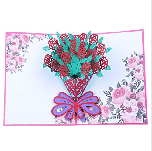 Greeting Cards 3D Flower Themes Popup Cards Handmade Thank You Greeting Cards Rose Pop Up Cards Valentine Day Card with Envelopes for Valentine Birthday Anniversary Wedding Mother's Day Blessing