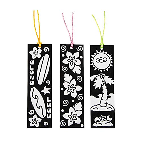 Color Your Own Fuzzy Luau Bookmarks - Crafts for Kids and Fun Home Activities