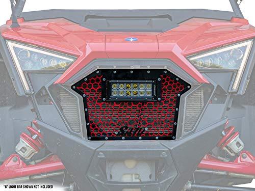 SuperATV Hex Cell Grille Insert for 2020+ Polaris RZR PRO XP/PRO XP-4 | Durable laser cut steel | INCLUDES 6' LED Light Bar!
