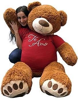 Big Plush 5 Foot Giant Teddy Bear Wearing TE AMO T-Shirt 60 Inches Soft Cinnamon Brown Color Huge Teddybear