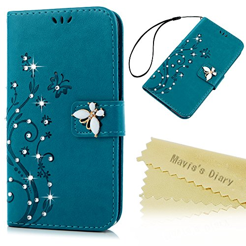 S5 Case,Samsung Galaxy S5 Case - Mavis's Diary 3D Handmade Wallet Bling Crystal Diamonds Butterfly Fashion Embossed Floral PU Leather Cover with Hand Strap Magnetic Clasp Card Holders - Blue