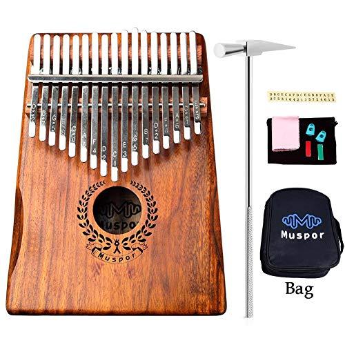S-tubit Ecualizador Kalimba Thumb Piano 17 Teclas, portátil Mbira Finger Piano Regalos para niños y Adultos Principiantes - Enlace Altavoz Pickup eléctrico con Bolsa Cable Designer