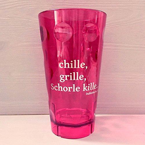Pfälzer Dubbebecher chille, Grille, Schorle kille. 0,5 l aus Plastik (Polycarbonat) (pink)