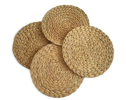 Round Placemats Set of 4,Woven Placemats Made of Water Hyacinth Straw by Braided, Heat Resistant Non Slip Soft Mats for Wood Table, Coasters, Pots, Pans & Teapots in Kitchen 11.8 inches