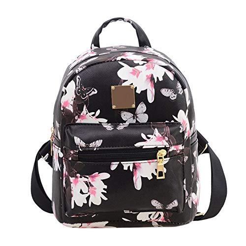 Women Girls Mini Backpack Fashion Causal Floral Printing, Black, Size Free Size