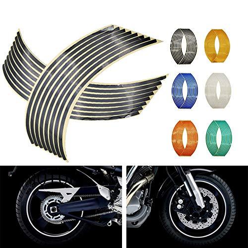 N&G 4PCS Calcomanía Reflectante para Llantas de Ruedas de de 14, 17 o 18 Pulgadas para Ruedas de Motocicleta Coche Bicicleta Bicicleta Noche Reflectante decoración de Seguridad Raya Universal (Negro)