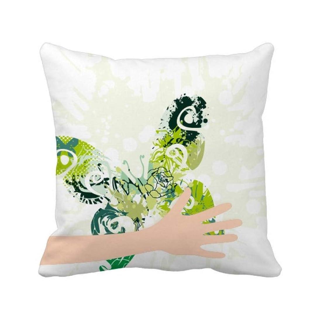 報いる一致免疫する動物の緑の蝶の落書き 手投げ枕カバー正方形