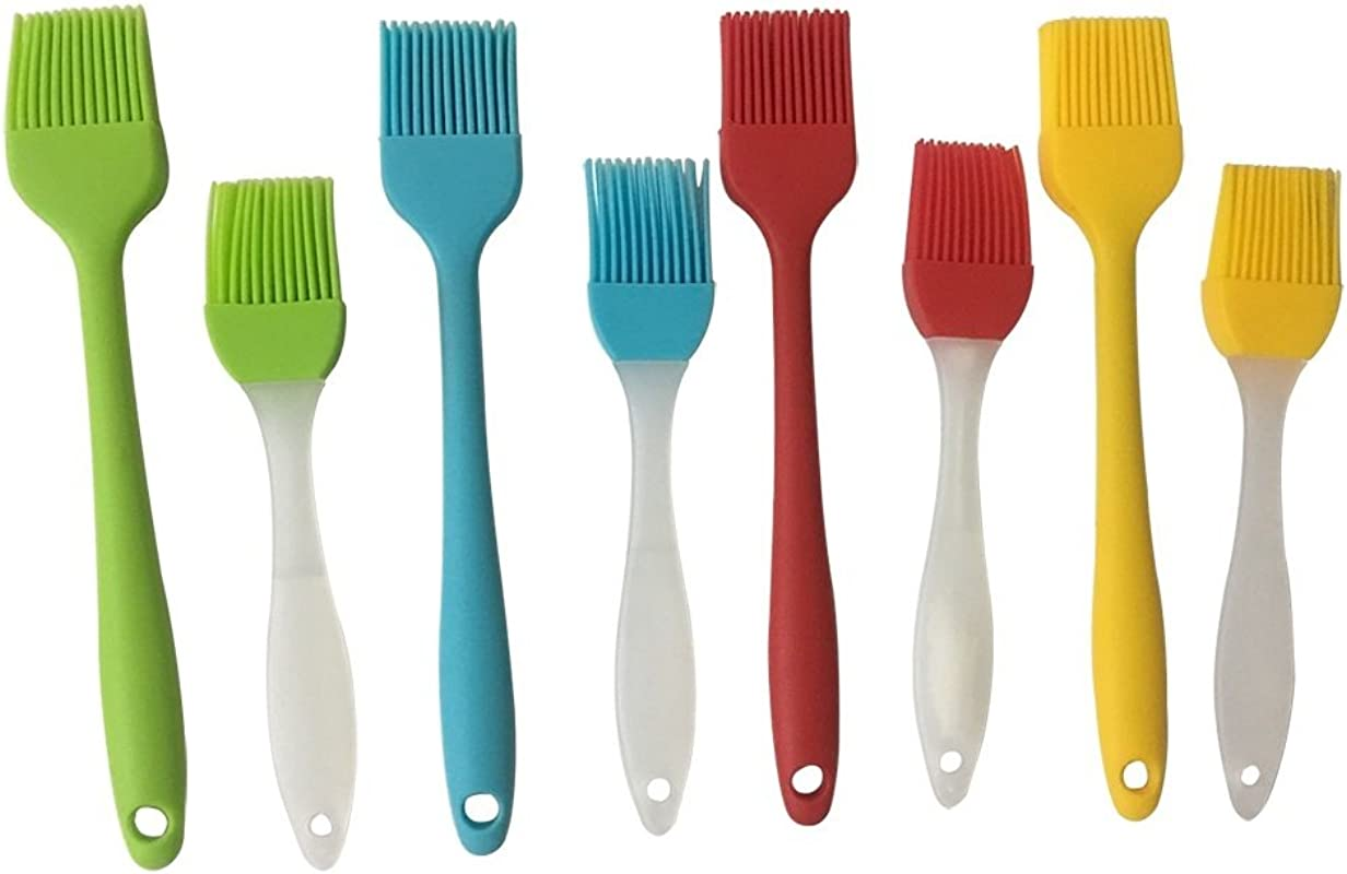 Tsuen 8pcs Silicone Basting Brush Oil Brush Heat Resistant Baking Brush BBQ Brush Pastry Brush Grill Barbecue Brush Cooking Baking Dishwasher Safe 4 Colors 2 Sizes
