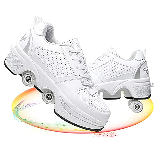 HealHeaters Patines De Deformación 2 En 1 Rueda De Deformación De Doble Fila Zapatos para Caminar Automáticos Patines De Hielo Deportes Al Aire Libre Kick Patines Unisex