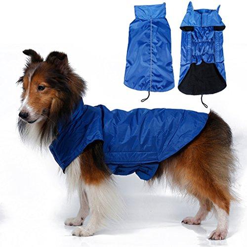 Waterproof Hund Weste Jacke Fleece Gefuettert Regenkleidung Xs Blau