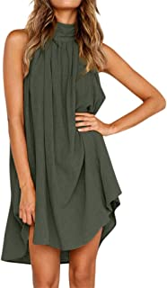 haoricu Sleeveless Dresses for Women Holiday Irregular Casual Loose Summer Beach Mini Dress