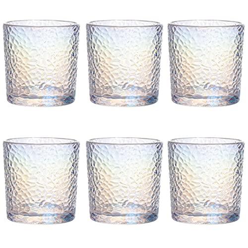UNISHOP Set de 6 Vasos Iridiscentes de Agua , Vasos de Cristal de 350ml de Capacidad, Aptos para Lavavajillas