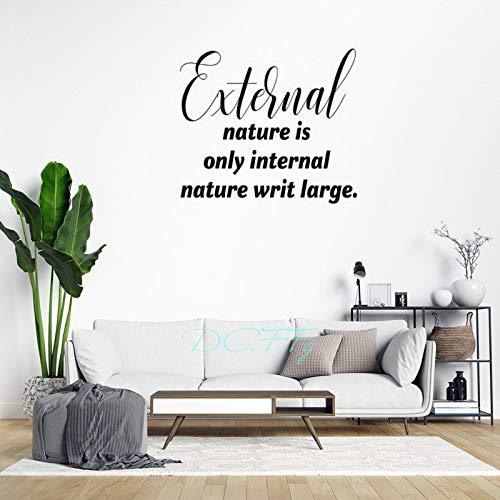 Vinilo adhesivo decorativo para pared, diseño de casa de granja, 29,5 pulgadas, con texto en inglés 'External Nature is Only Internation'