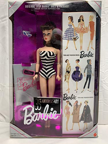 Barbie Muñeca 35 aniversario (pelo moreno) Reproducción 1959 Muñeca & Paquete Edición...