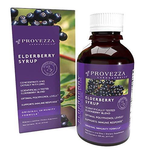 Provezza European Black Elderberry Syrup with Zinc for Kids and Adults, Sambucus Herbal Supplement, Daily Immune Support, Vegetarian, Original Immunity Boost Formula (4.0 Ounces)