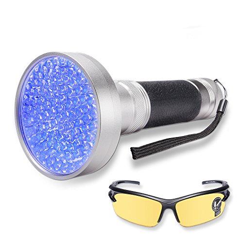 WOLFWILL LED Schwarzlicht Taschenlampe UV Flashlicht mit UV Schutzbrille für Camping,Outdoor