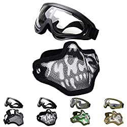 Outgeek Airsoft Half Face Mask & Goggles Set