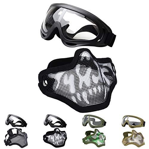 Fansport Gittermaske Airsof Paintball Maske-Halbmaske Ausrüstung Stahl Airsoft Masken for Men