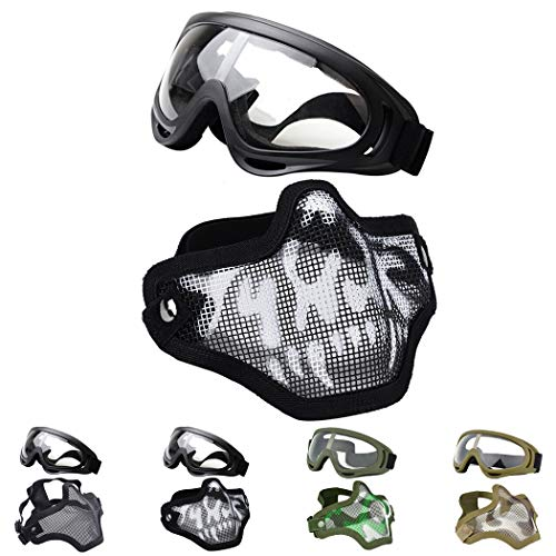 Fansport Tactical Airsoft Mask, Tattica Maschere Maschere Airsoft Airsoft BBS Airsoft Mesh Mask Maschere tattiche Mezze Maschere con Gli Occhiali Set Paintball Face Mask in Acciaio (Black/White)