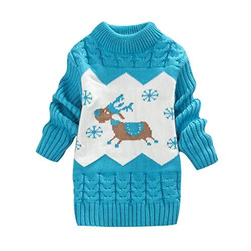 WEXCV Baby Pullover Kinder Unisex Mädchen Winter Strickpullover Rundhalsausschnitt Langarm Cute Pullover Kinderkleidung Sweatshirt Beiläufige Tops