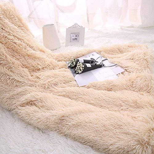 Marysa Kunstfell-Überwurfdecke für Bett Sofa Couch gemütlich mit Flauschiger Zotteldecke 130 x 160 cm (beige) beige