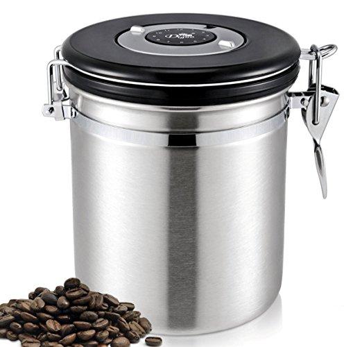 Diguo コーヒーキャニスター コーヒー保存容器 大容量 密封バルブ 日付表示 ステンレス 1.2L 500g用