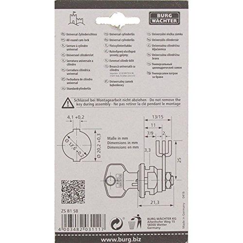 BURG-WÄCHTER Universalzylinder, Hebelschloss, Für Materialstärke von  1 bis 2 mm, vernickelt,  ZS 81 - 4