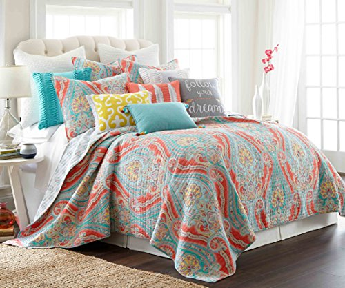 teal and coral quilt - 1