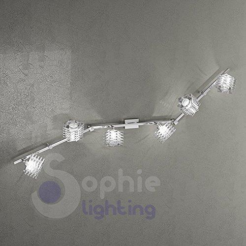 Aplique lámpara grande pared pared 135cm 2brazos 6luces Spot Focos Orientables Cristal...