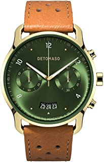 DETOMASO SORPASSO Montre chronographe à quartz analogique pour homme Édition limitée Gold Green Bracelet en cuir Marron