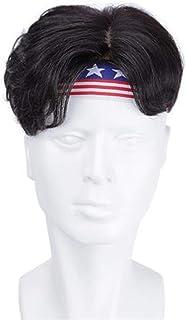 BOBIDYEE 前髪付きのハンサムなふわふわのナチュラルショートヘア手編みリアルヘアウィッグファッションウィッグ (色 : Natural black, サイズ : 18x20)