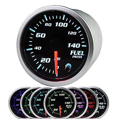 "Fuel Pressure Gauge 140 PSI Electronic Fuel Gauge Kit 7 Color LED Digital Display Fuel Gauge-Universal-Analog & Digital Readouts -Smoked Lens - for Car & Truck - 2-1/16"" 52mm"