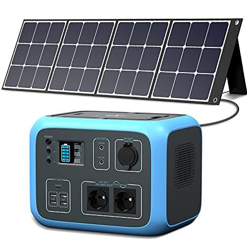 PowerOak Portable Power Station AC50S 500Wh 300W Solargenerator Sinuswellen-Wireless-Lade-Notfall-Lithium-Batterie-Backup mit 120W Sonnenkollektoren für Outdoor-Camping