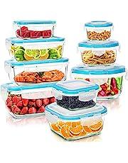 KICHLY - Glazen voedselopslagcontainer - 18 Stuks (9 Containers en 9 Transparante Deksels) - Vaatwasmachinebestendig - Magnetron- en vriesvriendelijk - Lekvrij - BPA-vrij, FDA & FSC-goedgekeurd