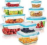 KICHLY Glas-Frischhaltedosen - 18 Teile (9 Behälter, 9 Deckel) - Glasbehälter mit deckel Spülmaschinen, Mikrowellen & Gefrierschrankfreundlich - Auslaufsicher, BPA-frei, FDA & FSC zugelassen
