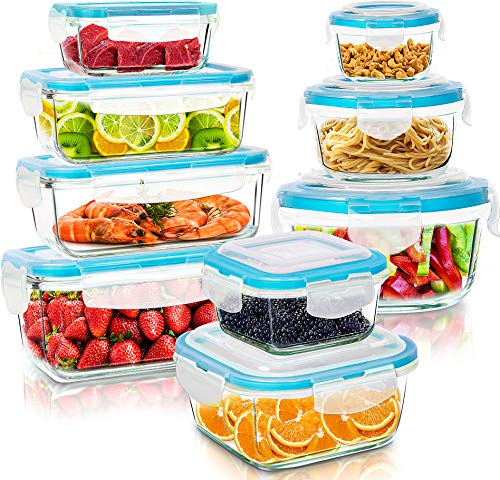 Utopia Kitchen Glass Food Storage Container Set - 18 Pieces (9 Containers and 9 Lids) - Transparent Lids - BPA Free (Blue, 18 Piece Set)