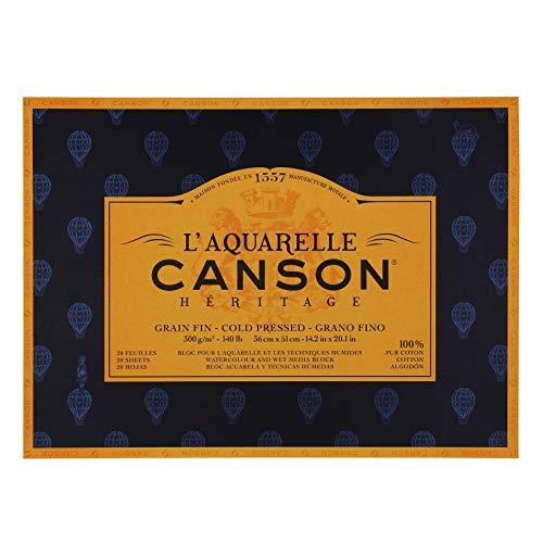 Canson La Acuarela Canson herencia Atrapaluz bloque 4lados (20hojas, grano fino 36 x 51 cm