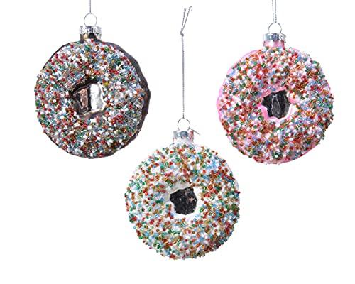 Decoris Bolas de Navidad de cristal, 9 cm x 1 unidad, rosas, marrón o blanco, surtidas