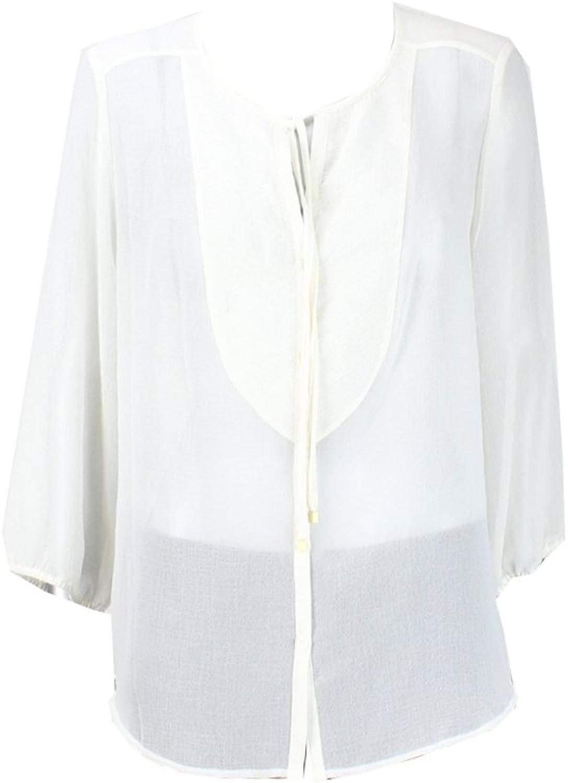 Ellen Tracy 3 4 Sleeve NeckTie Women's Large Blouse