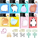 8 Pieces Cute Cartoon Animal Sticky Notes Animal Self-Stick Notes Memo Pads with 10 Pieces Animal Shaped Paper Clips for Kids Students Teachers School Office Supplies