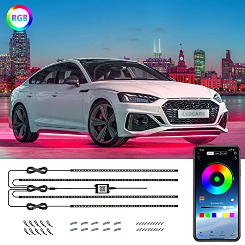 Car Underglow Lights, LEDCARE Exterior Car LED Strip Lights 16 Million Colors Neon Accent Lights Kit,Under Lights for Car Sync to Music and Wireless APP Control, DC12V(2×47inch+2×35inch)