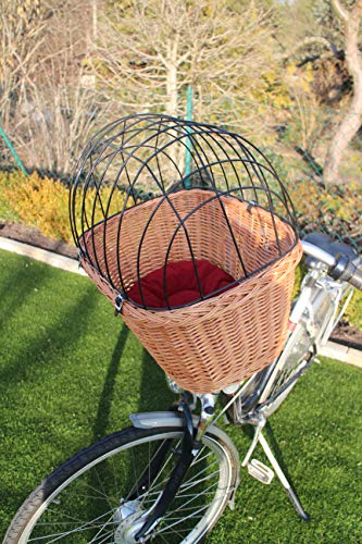 Marcus Hundefahrradkorb für Fahradlenker aus Weide mit Metallgitter und Kissen XL oder XXL Lenkrad Weidenkorb Hundekorb Lenkerkorb Tierkorb Einkaufskorb Natur (mit Kissen)